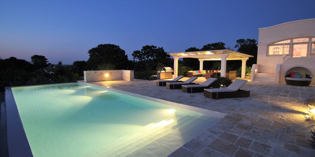 Villa Ponderosa Pool At Night