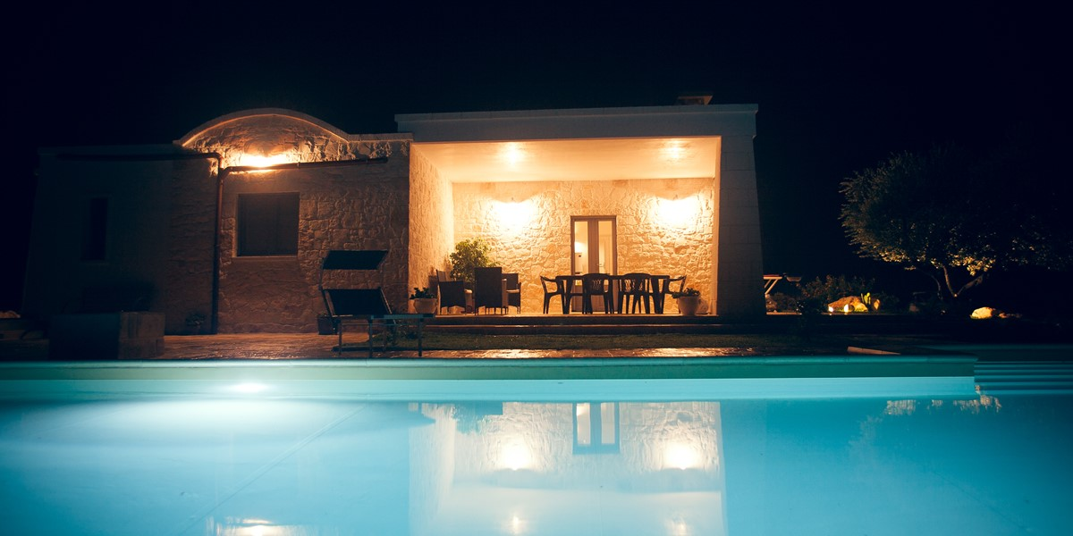 Villa Sudest Pool At Night