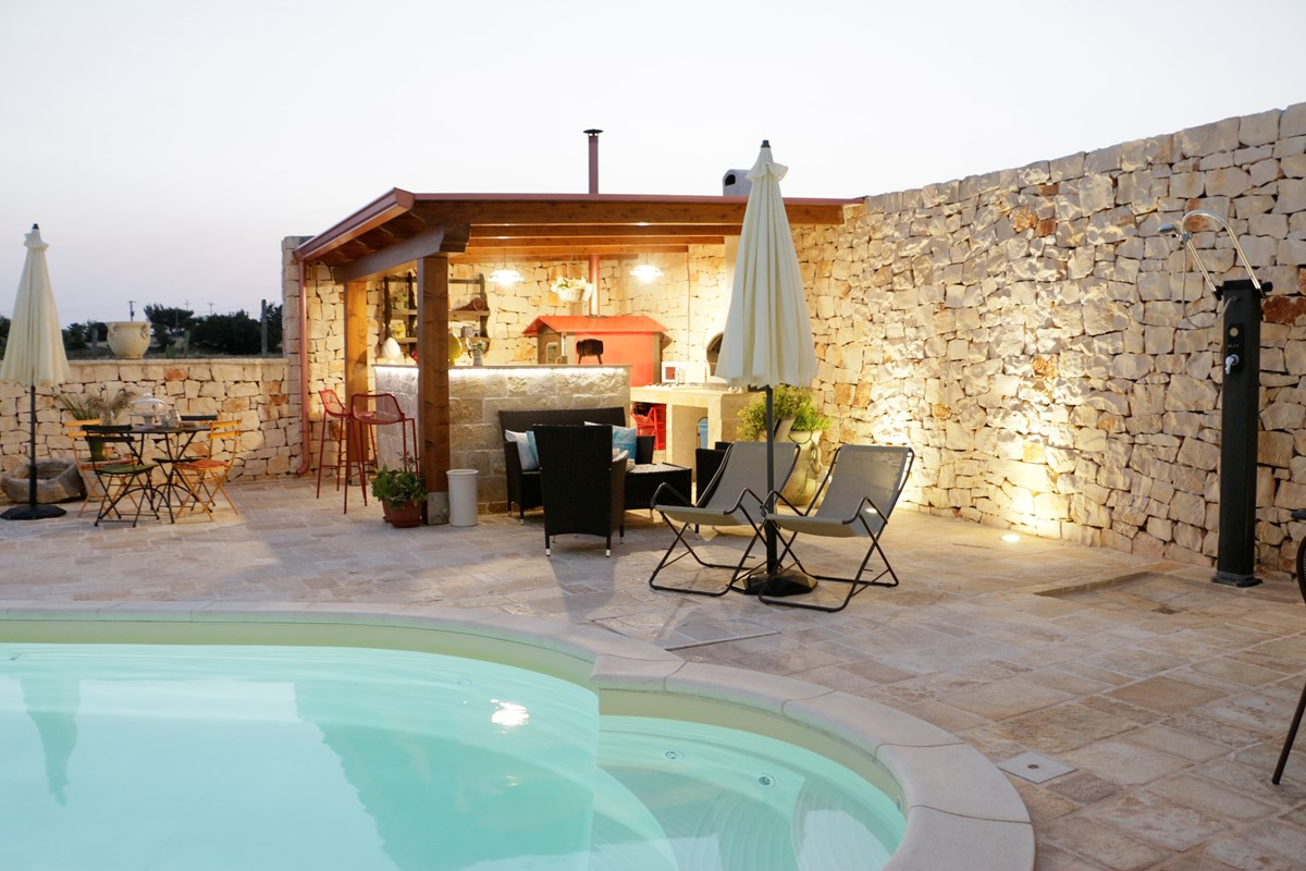 Casa Di Sole Outdoor Kitchen At Night